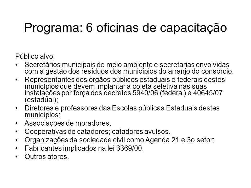 Programa: 6 oficinas de capacitação
