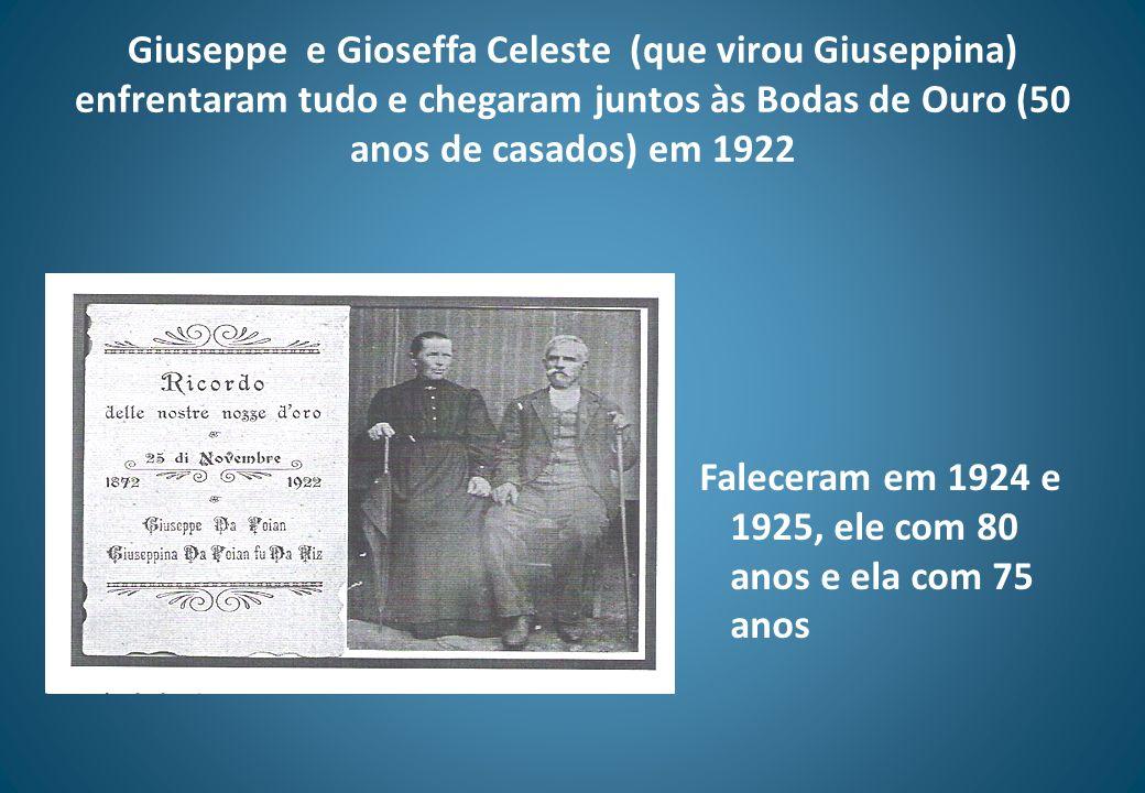 Faleceram em 1924 e 1925, ele com 80 anos e ela com 75 anos