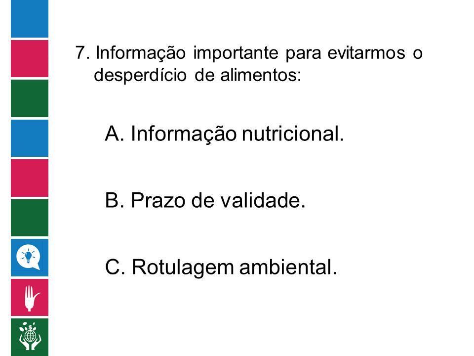 A. Informação nutricional.