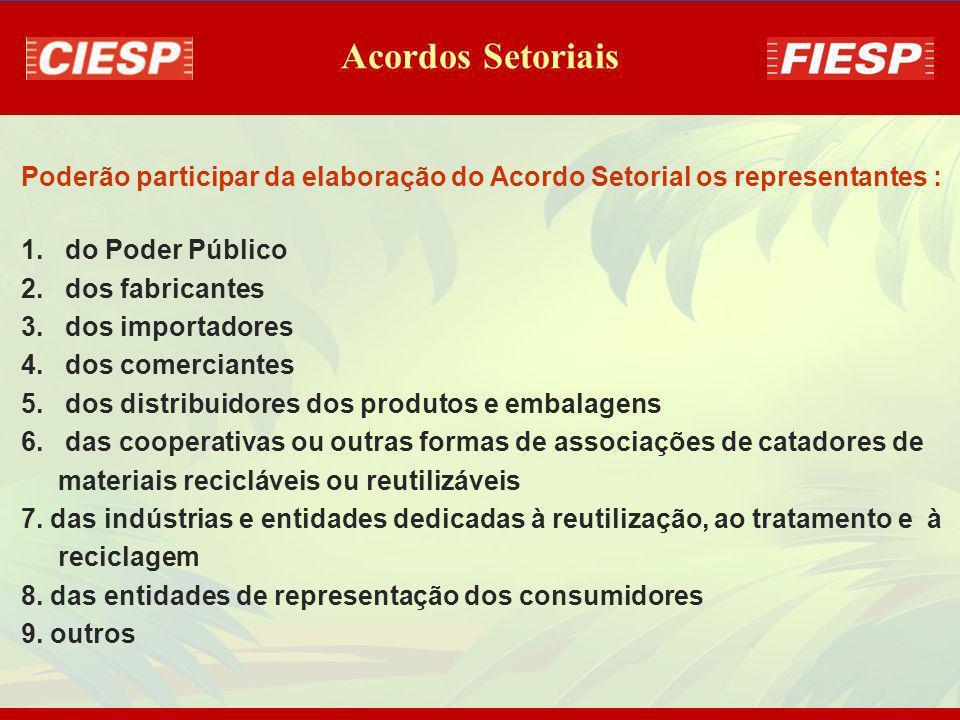 Acordos Setoriais Poderão participar da elaboração do Acordo Setorial os representantes : do Poder Público.