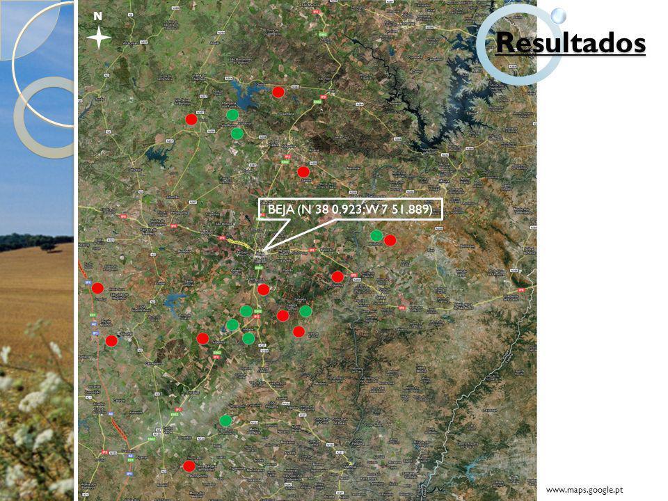 N Resultados BEJA (N 38 0.923; W 7 51.889) www.maps.google.pt