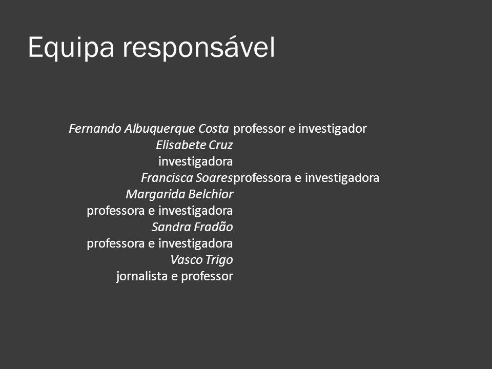 Equipa responsável Fernando Albuquerque Costa professor e investigador