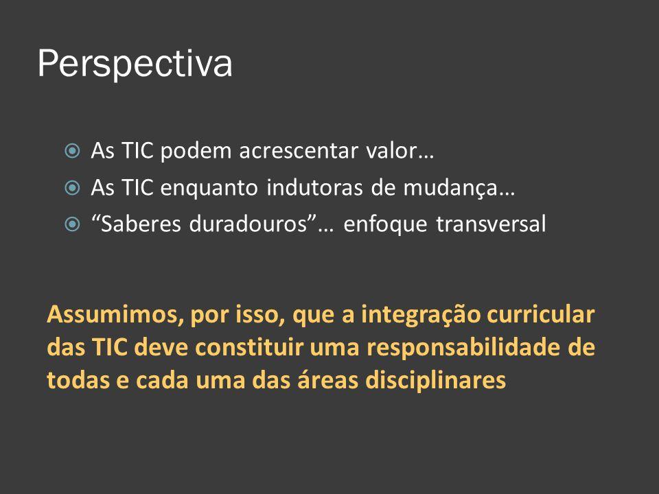 Perspectiva As TIC podem acrescentar valor… As TIC enquanto indutoras de mudança… Saberes duradouros … enfoque transversal.