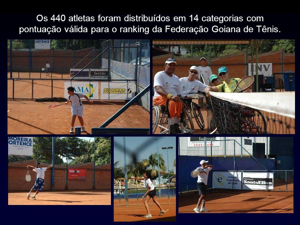 Os 440 atletas foram distribuídos em 14 categorias com pontuação válida para o ranking da Federação Goiana de Tênis.