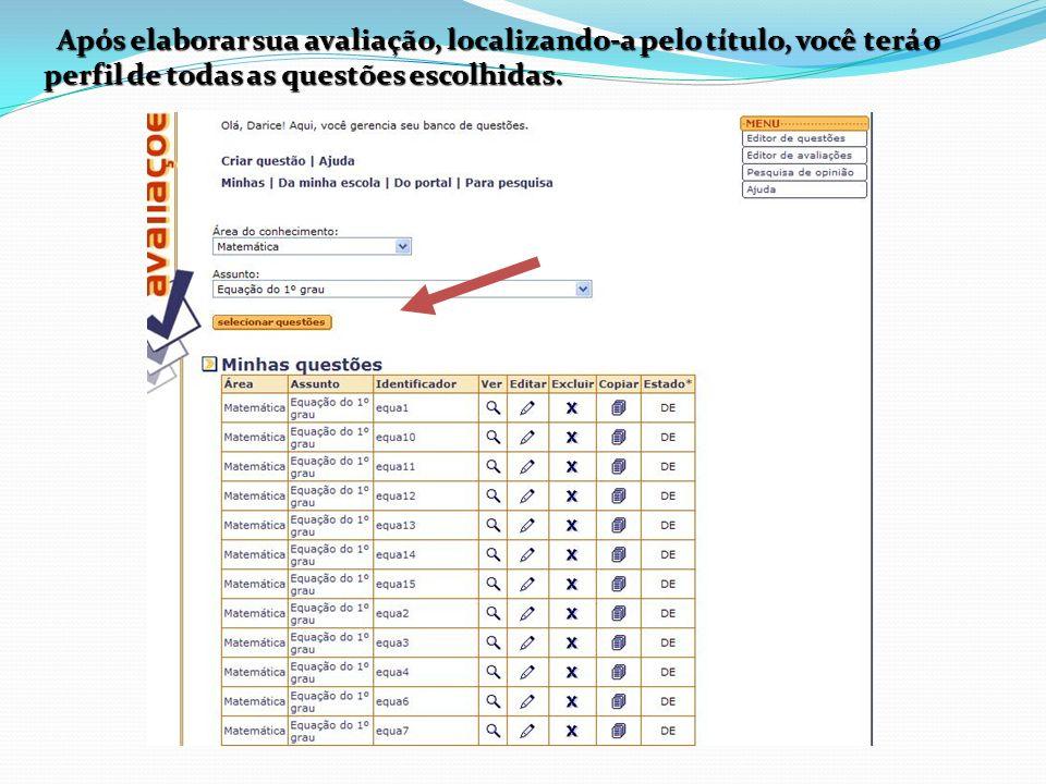 Após elaborar sua avaliação, localizando-a pelo título, você terá o perfil de todas as questões escolhidas.
