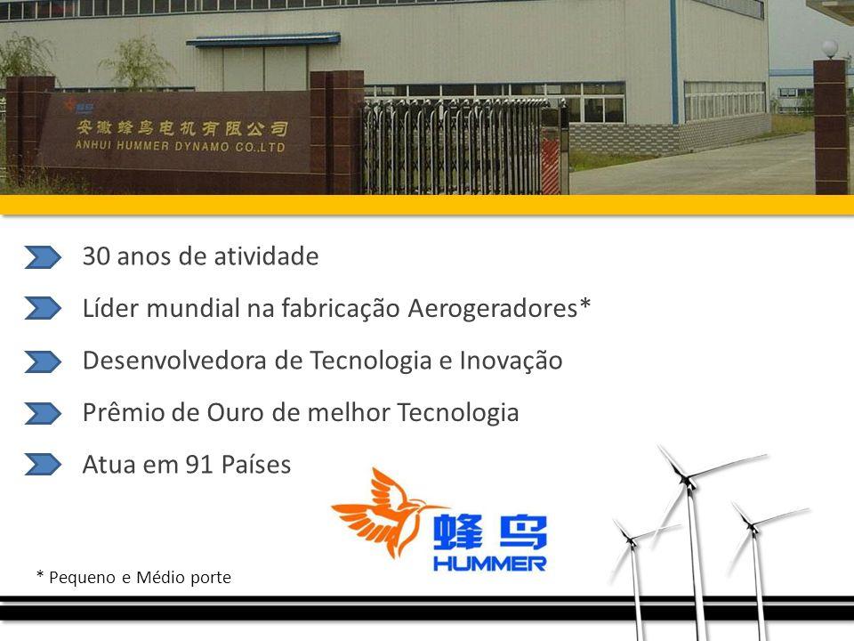 Líder mundial na fabricação Aerogeradores*