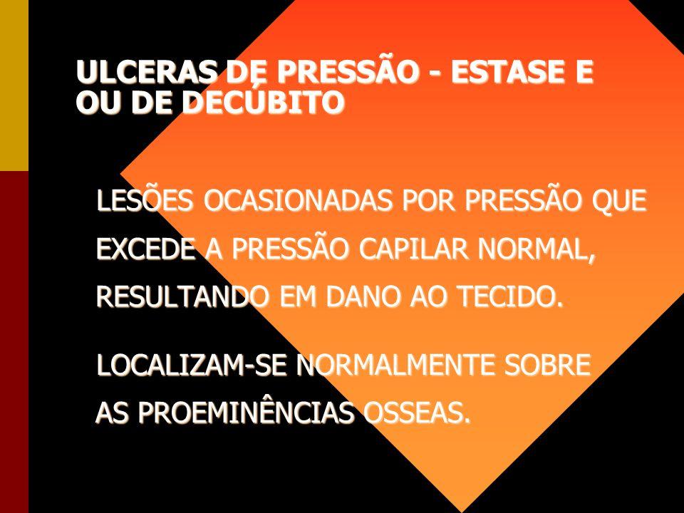 ULCERAS DE PRESSÃO - ESTASE E OU DE DECÚBITO