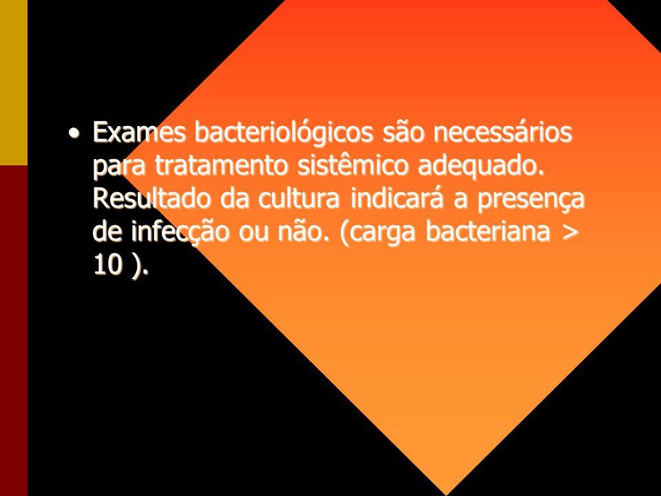 Exames bacteriológicos são necessários para tratamento sistêmico adequado.