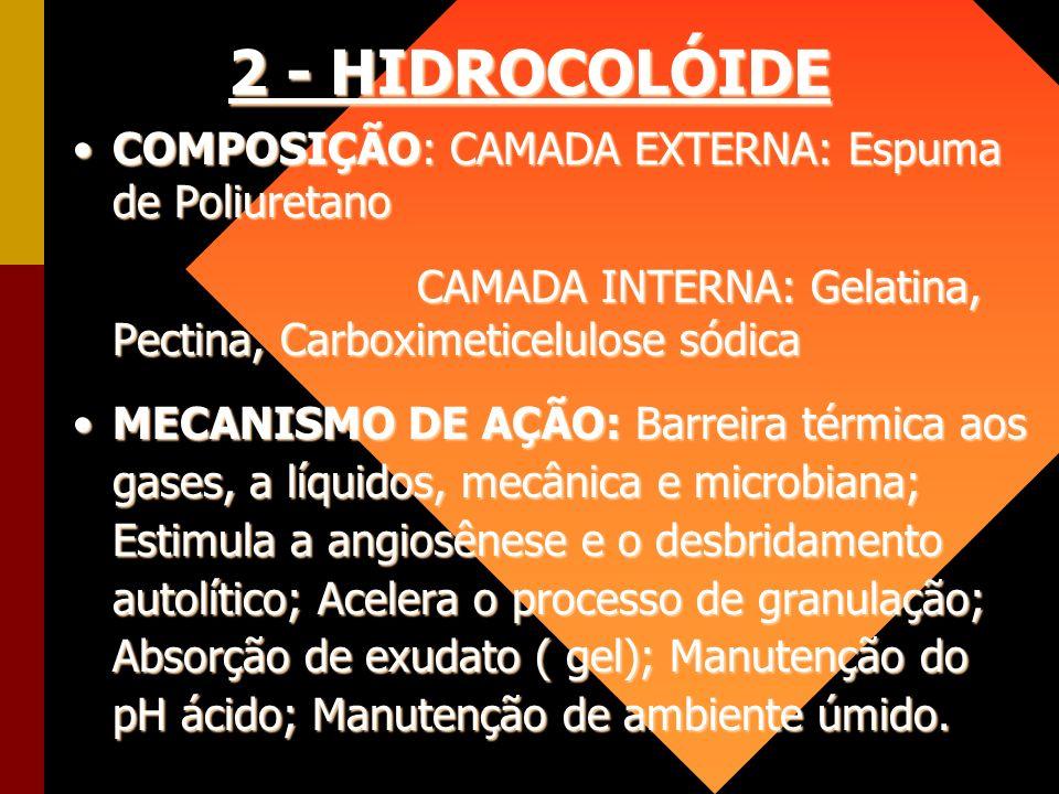 2 - HIDROCOLÓIDE COMPOSIÇÃO: CAMADA EXTERNA: Espuma de Poliuretano