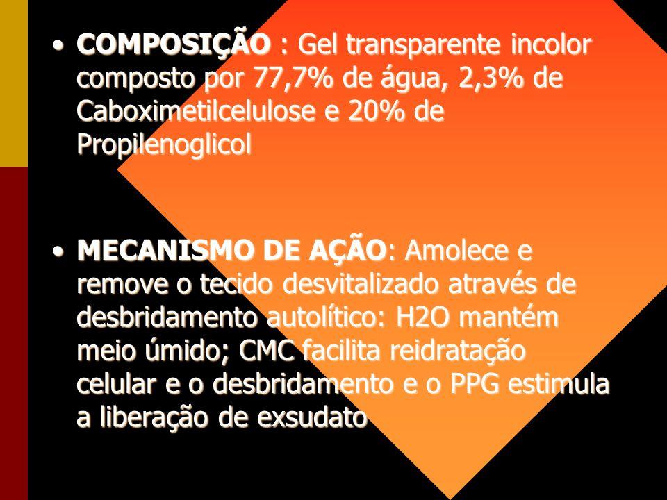 COMPOSIÇÃO : Gel transparente incolor composto por 77,7% de água, 2,3% de Caboximetilcelulose e 20% de Propilenoglicol