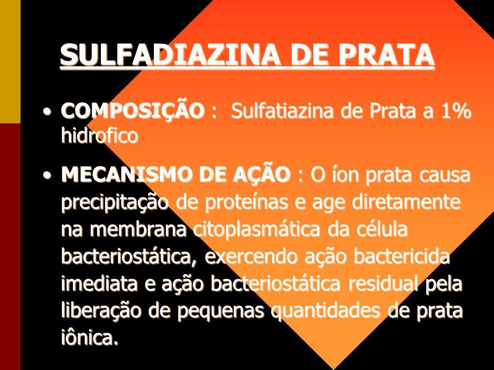 SULFADIAZINA DE PRATA COMPOSIÇÃO : Sulfatiazina de Prata a 1% hidrofico.