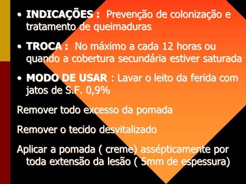 INDICAÇÕES : Prevenção de colonização e tratamento de queimaduras