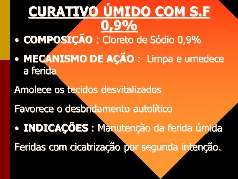 CURATIVO ÚMIDO COM S.F 0,9% COMPOSIÇÃO : Cloreto de Sódio 0,9%