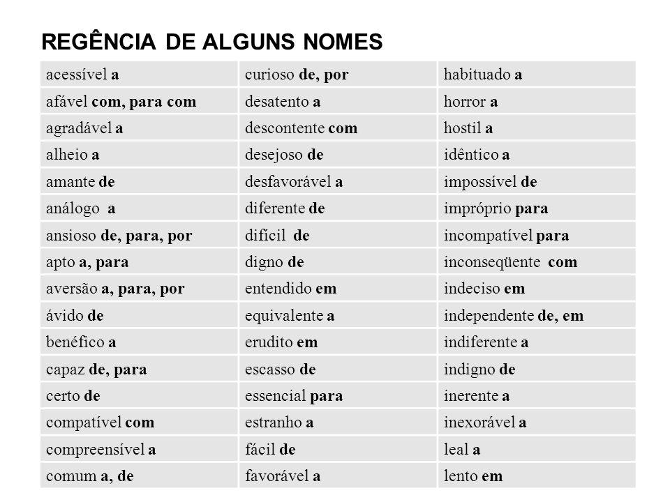 REGÊNCIA DE ALGUNS NOMES