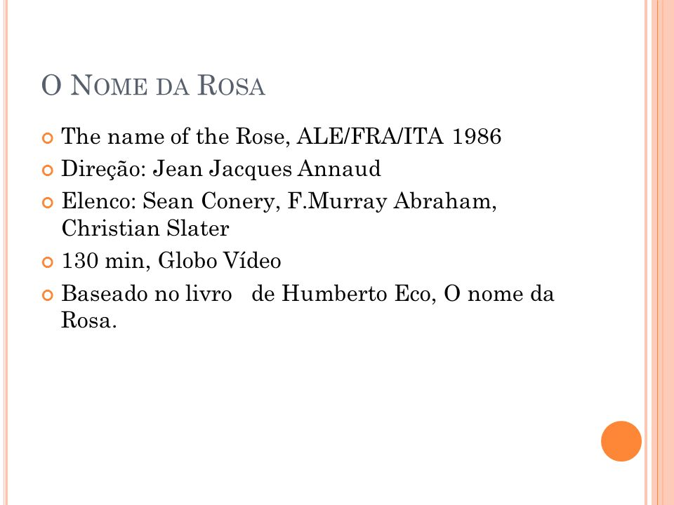 O Nome da Rosa The name of the Rose, ALE/FRA/ITA 1986
