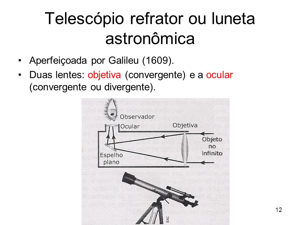 Telescópio refrator ou luneta astronômica