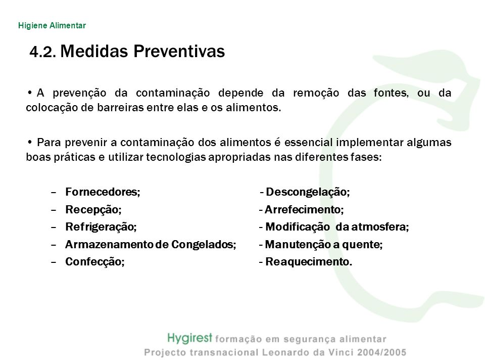Higiene Alimentar 4.2. Medidas Preventivas.