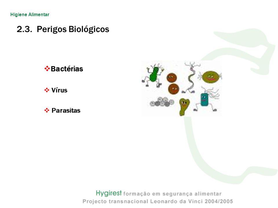 Higiene Alimentar 2.3. Perigos Biológicos Bactérias Vírus Parasitas