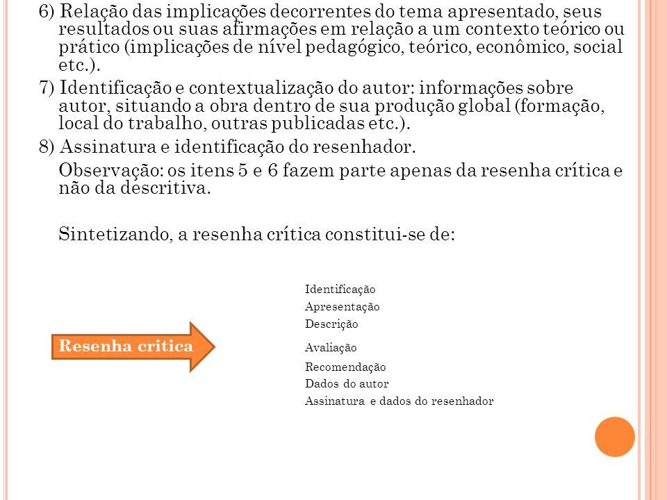 8) Assinatura e identificação do resenhador.