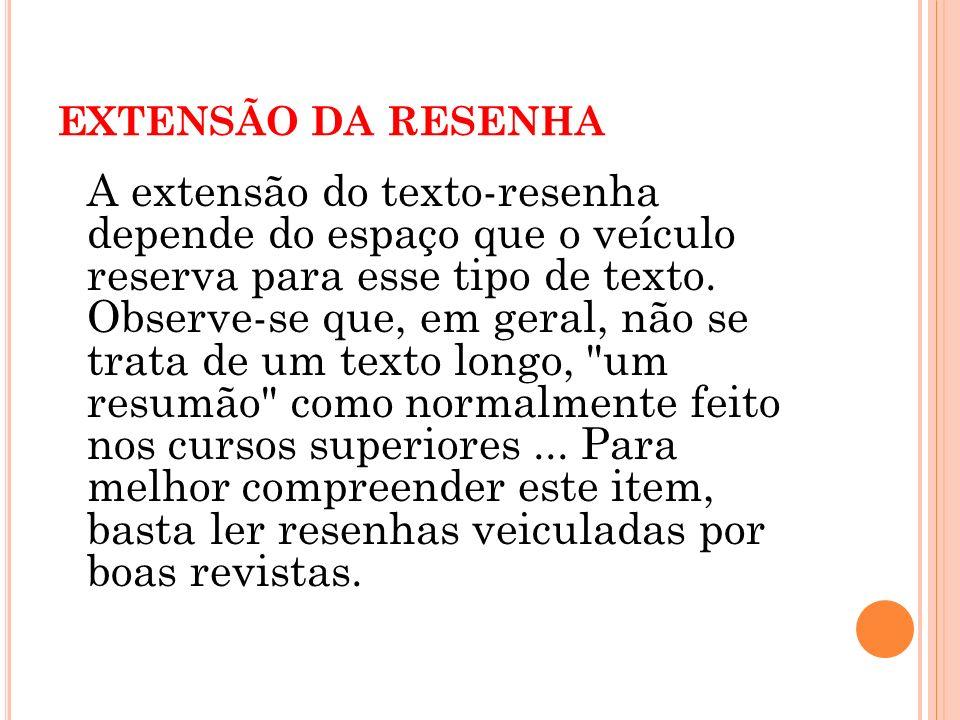 EXTENSÃO DA RESENHA