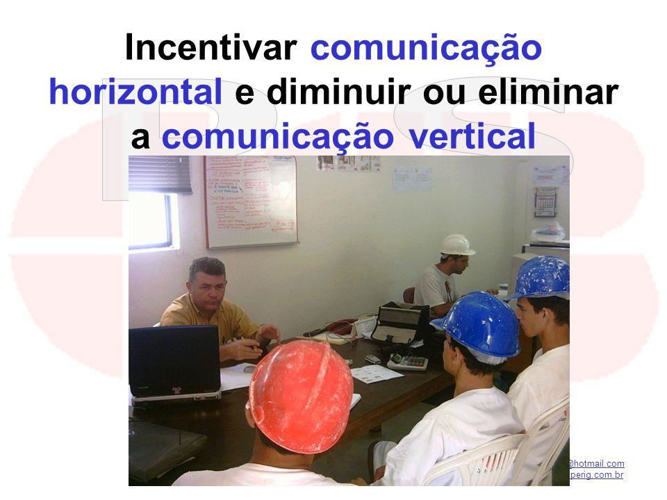 Incentivar comunicação horizontal e diminuir ou eliminar a comunicação vertical