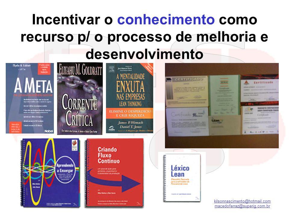 Incentivar o conhecimento como recurso p/ o processo de melhoria e desenvolvimento