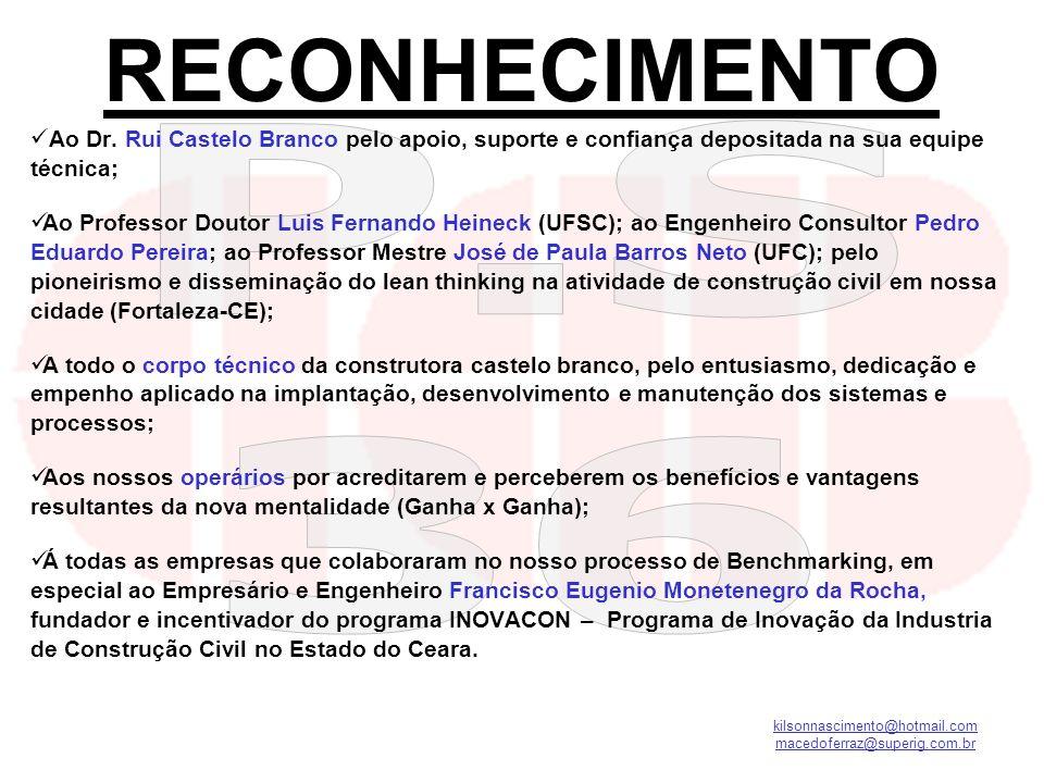 RECONHECIMENTO Ao Dr. Rui Castelo Branco pelo apoio, suporte e confiança depositada na sua equipe técnica;