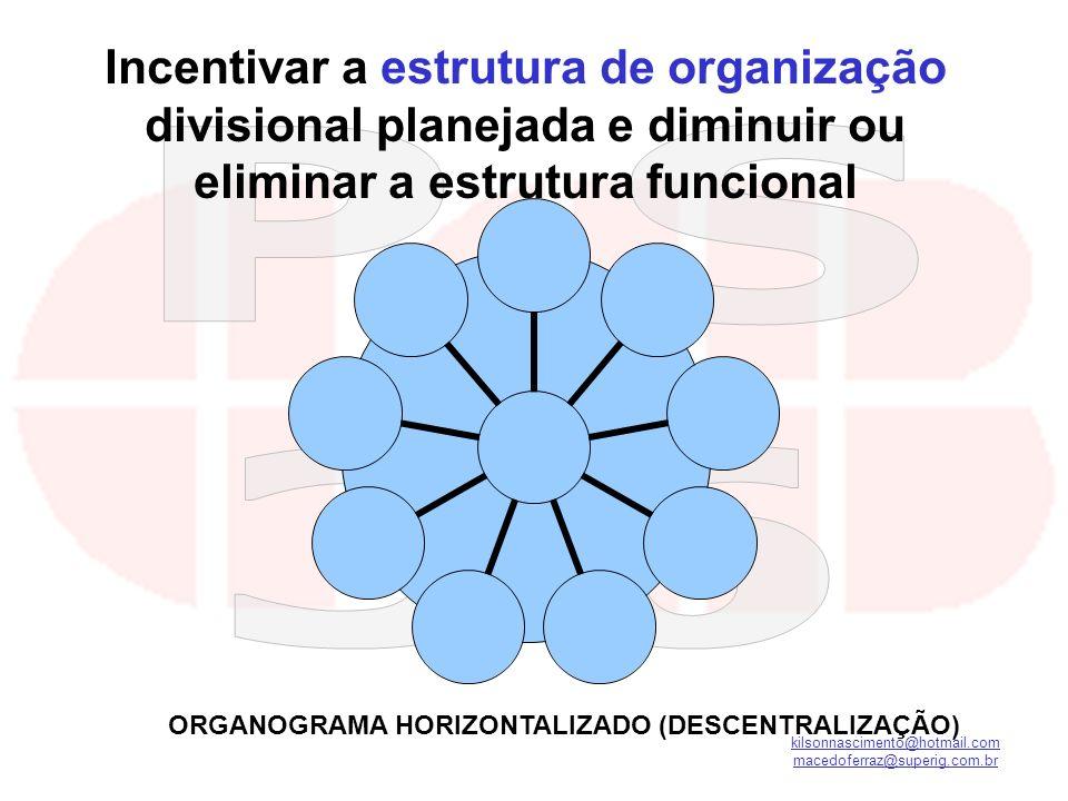 ORGANOGRAMA HORIZONTALIZADO (DESCENTRALIZAÇÃO)