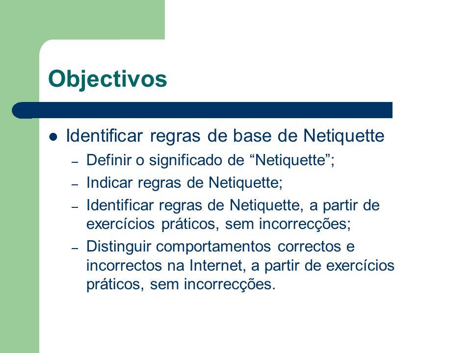 Objectivos Identificar regras de base de Netiquette