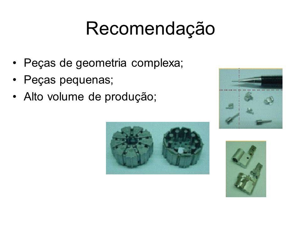 Recomendação Peças de geometria complexa; Peças pequenas;