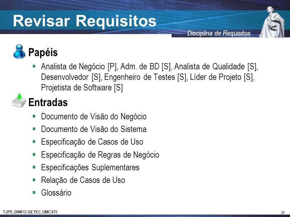 Revisar Requisitos Papéis Entradas
