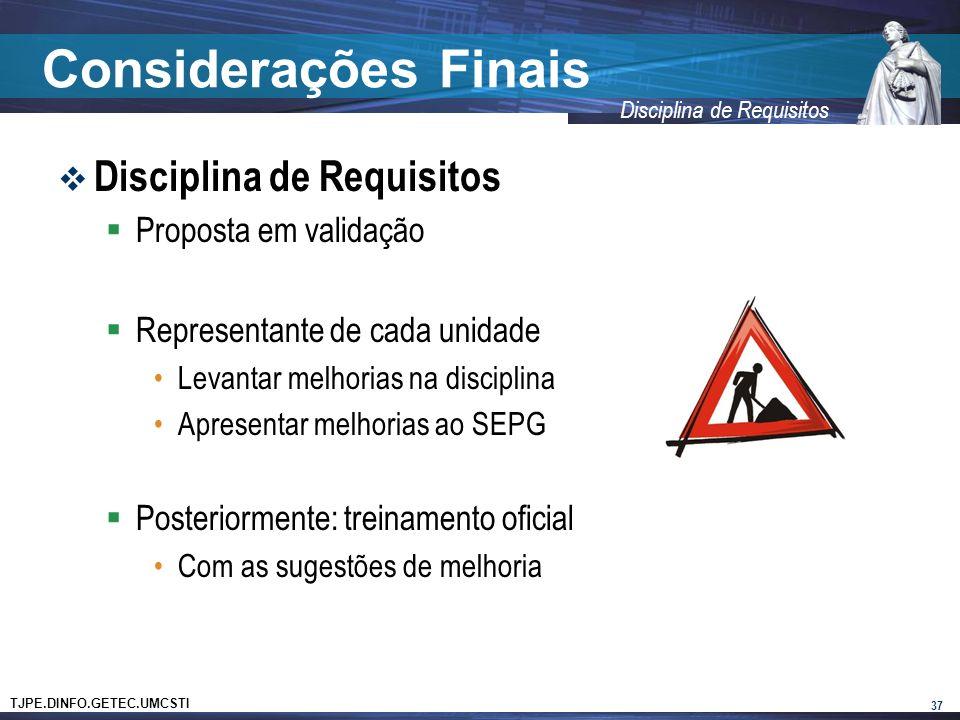 Considerações Finais Disciplina de Requisitos Proposta em validação