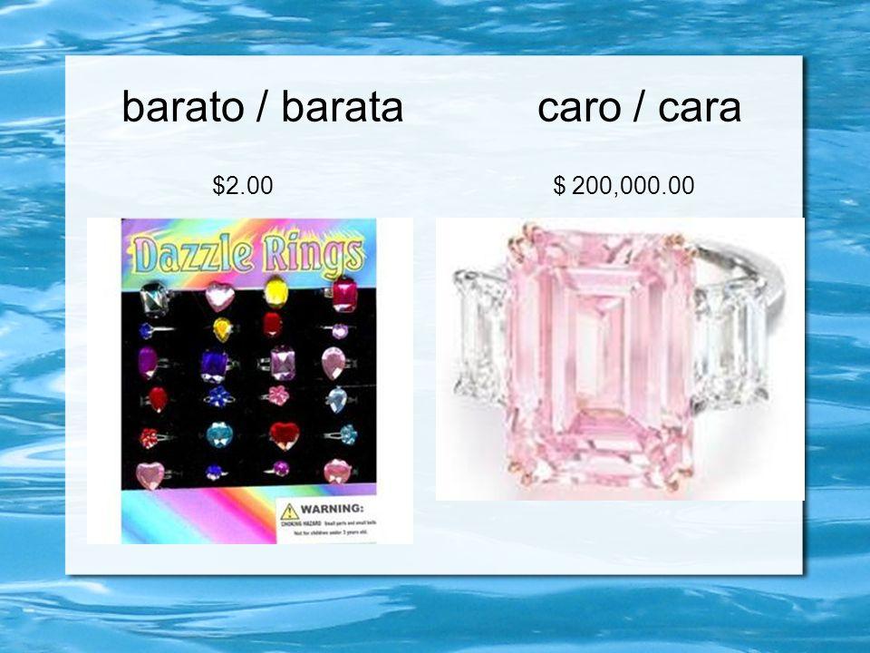 barato / barata caro / cara