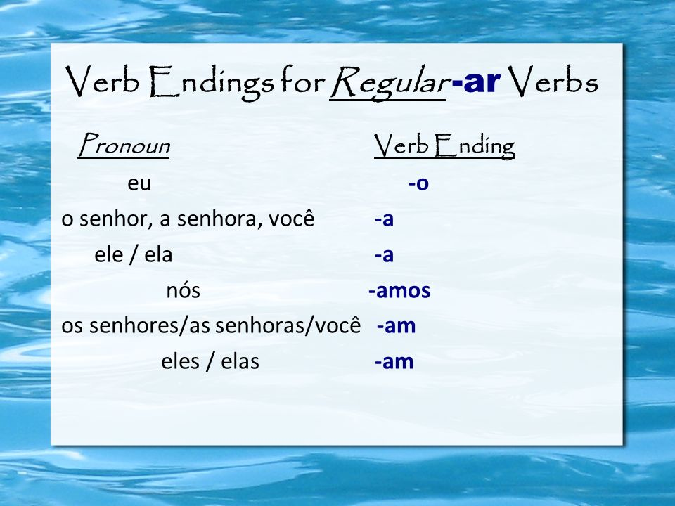 Verb Endings for Regular -ar Verbs