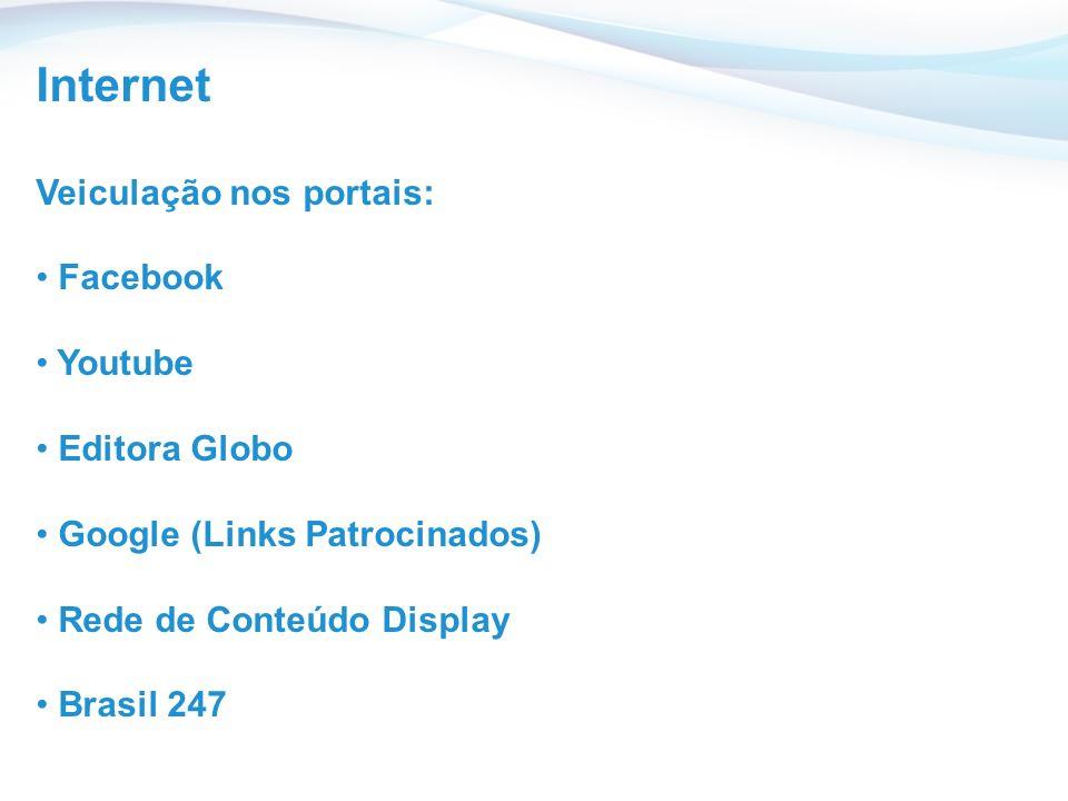 Internet Veiculação nos portais: Facebook Youtube Editora Globo