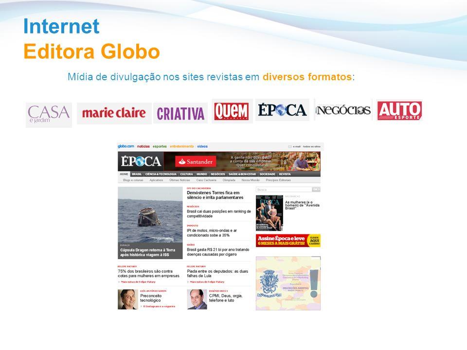 Mídia de divulgação nos sites revistas em diversos formatos: