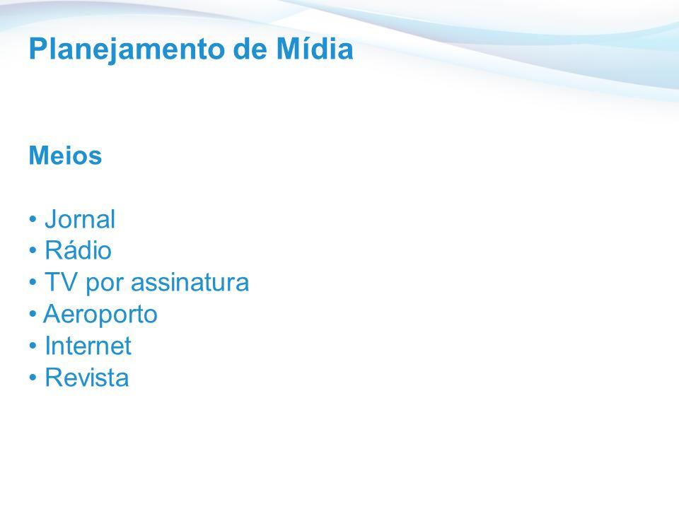 Planejamento de Mídia Meios Jornal Rádio TV por assinatura Aeroporto
