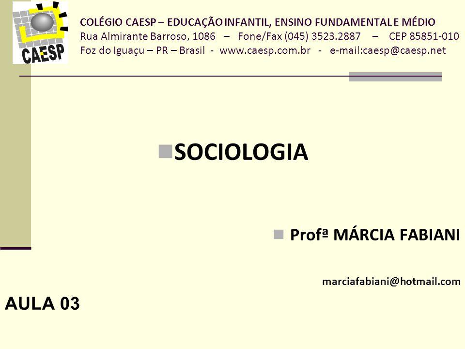 SOCIOLOGIA Profª MÁRCIA FABIANI AULA 03