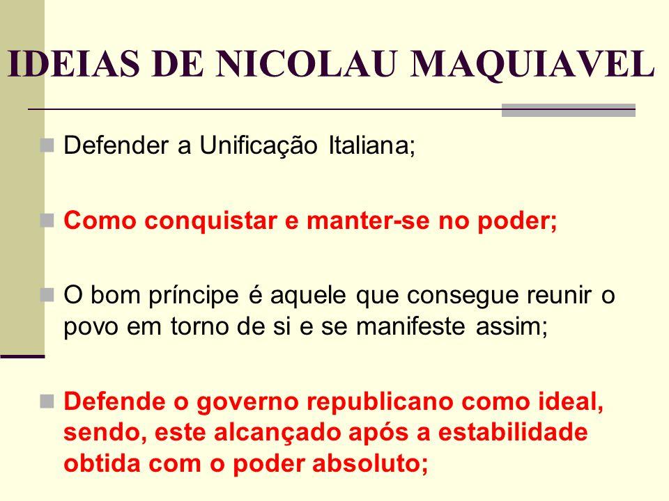 IDEIAS DE NICOLAU MAQUIAVEL
