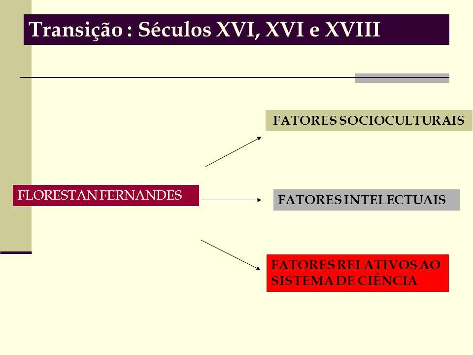 Transição : Séculos XVI, XVI e XVIII