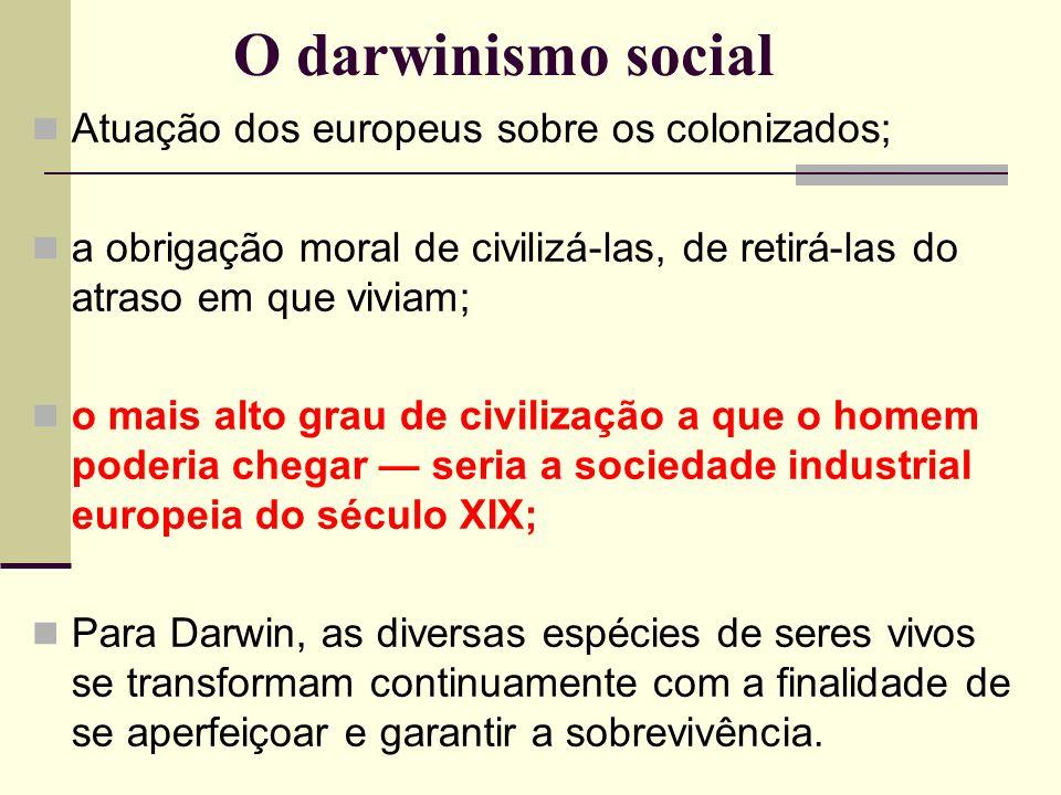 O darwinismo social Atuação dos europeus sobre os colonizados;