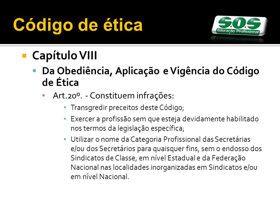 Código de ética Capítulo VIII