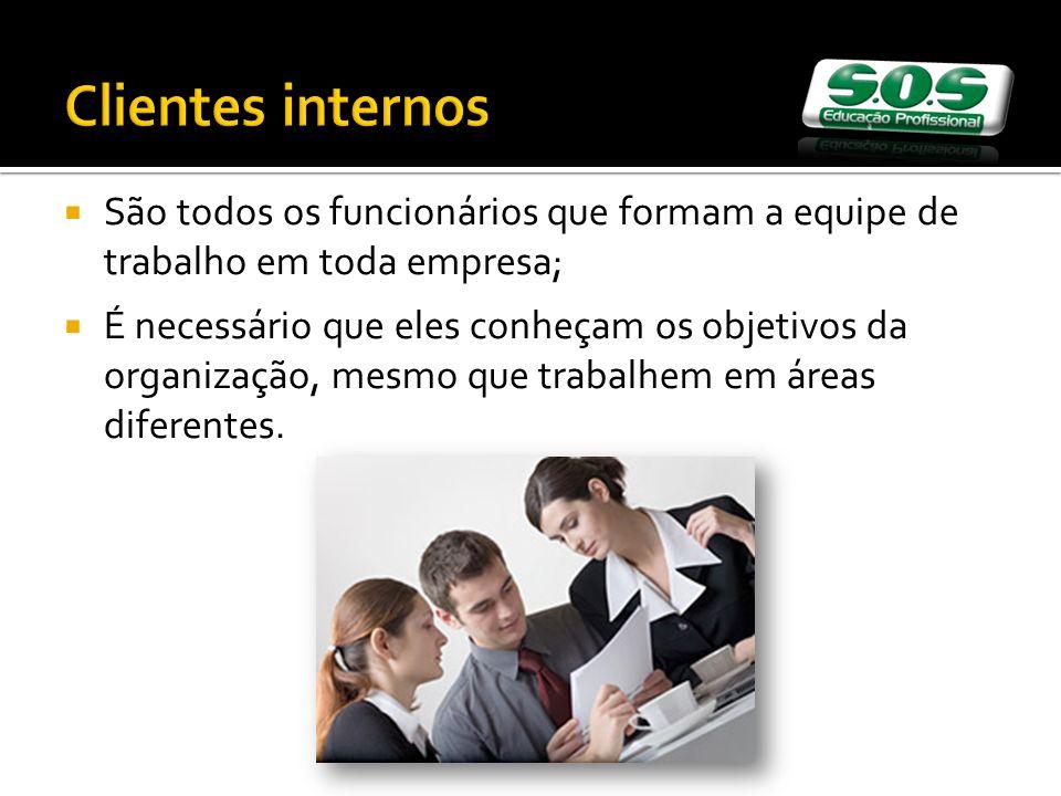 Clientes internos São todos os funcionários que formam a equipe de trabalho em toda empresa;