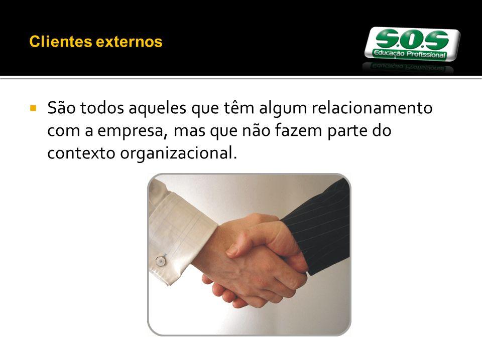 Clientes externos São todos aqueles que têm algum relacionamento com a empresa, mas que não fazem parte do contexto organizacional.