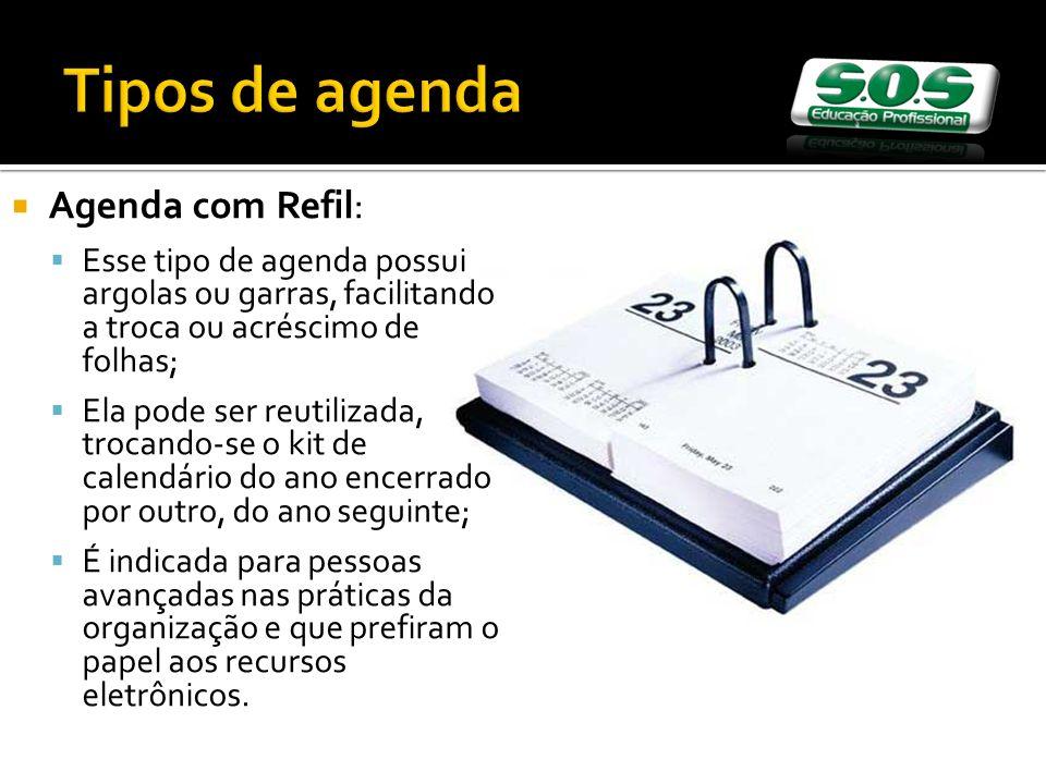 Tipos de agenda Agenda com Refil: