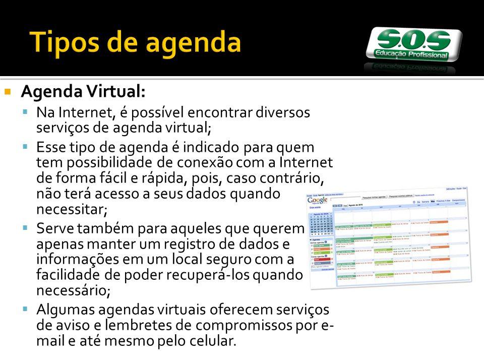 Tipos de agenda Agenda Virtual: