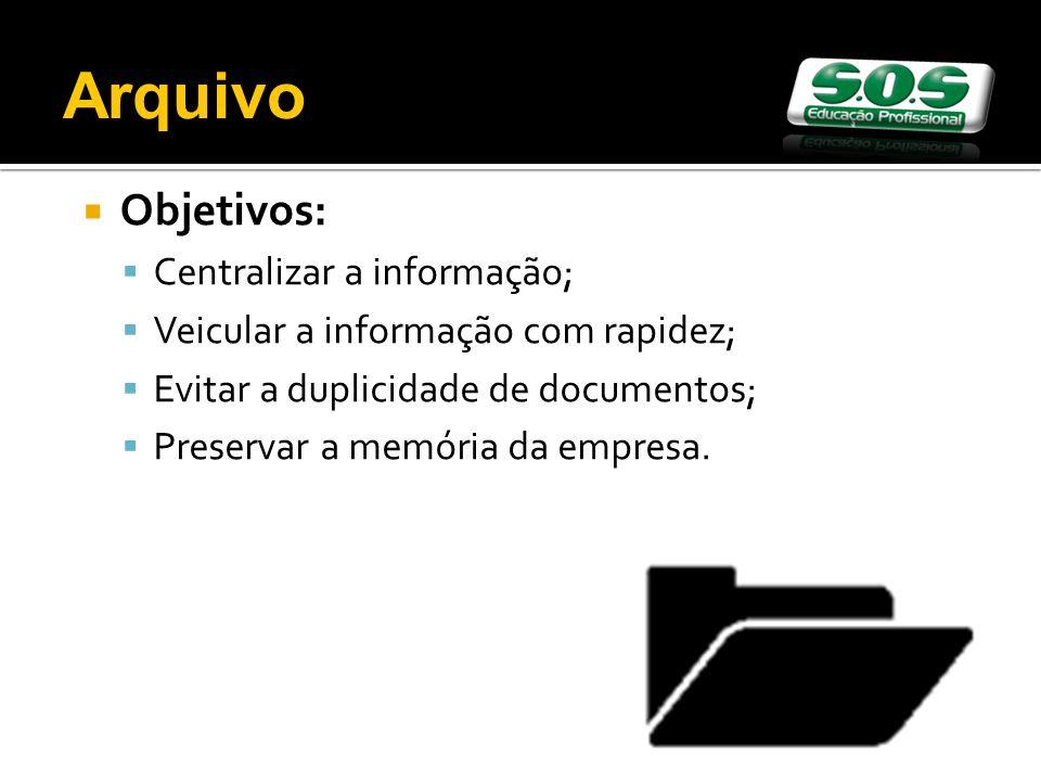 Arquivo Objetivos: Centralizar a informação;