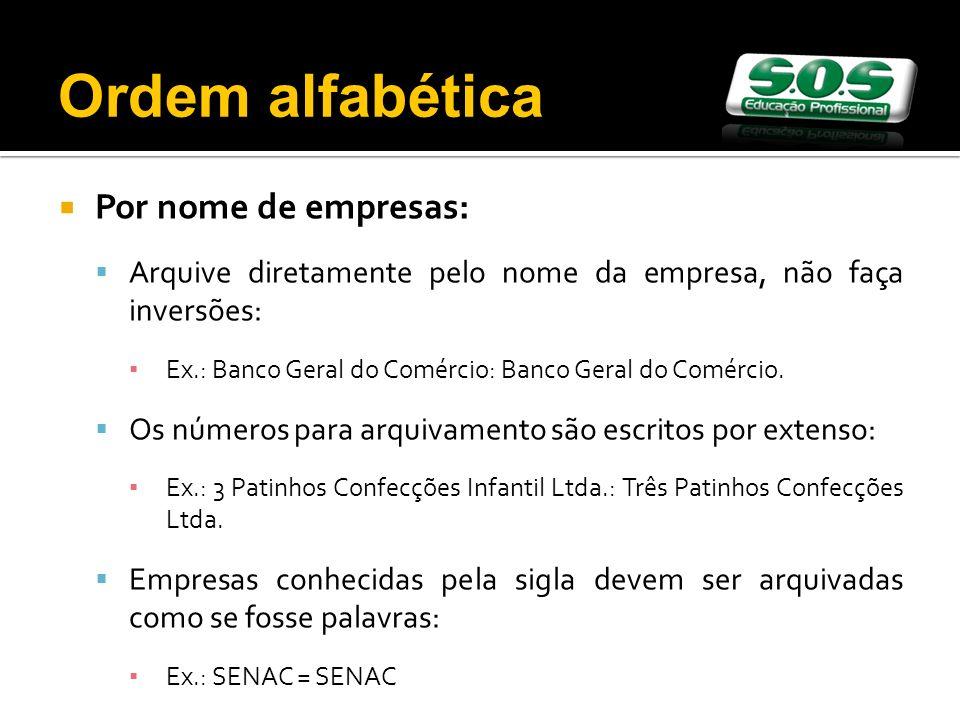 Ordem alfabética Por nome de empresas: