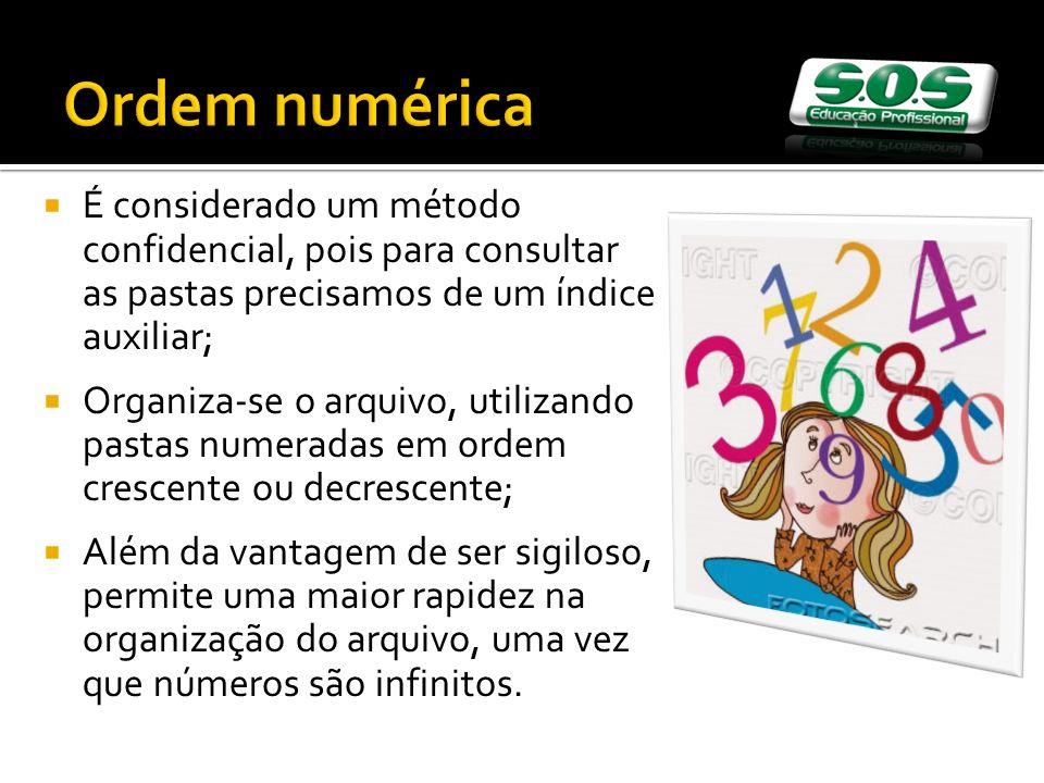 Ordem numérica É considerado um método confidencial, pois para consultar as pastas precisamos de um índice auxiliar;