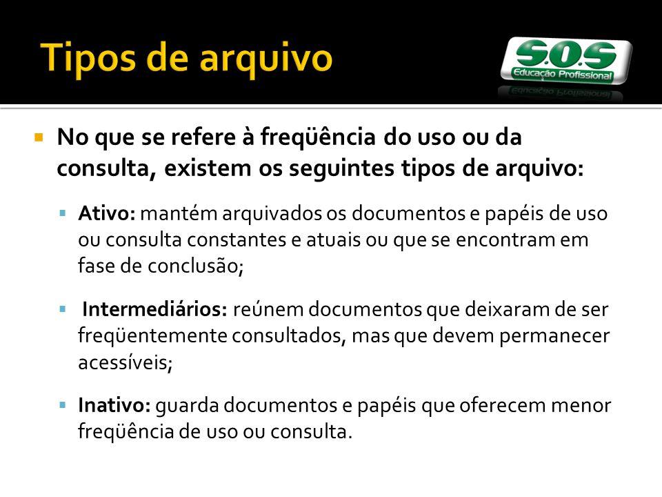 Tipos de arquivo No que se refere à freqüência do uso ou da consulta, existem os seguintes tipos de arquivo:
